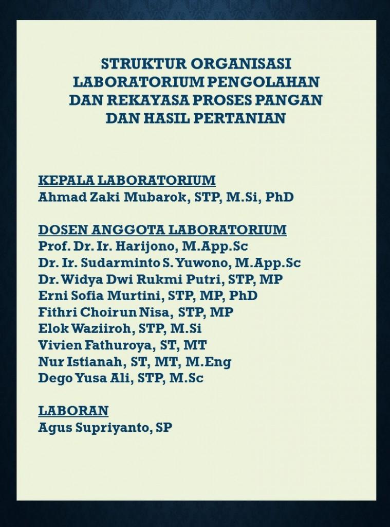 Struktur organisasi Lab TPP